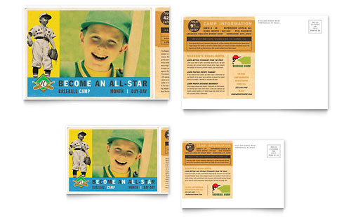 Baseball Sports Camp Postcard Template Design
