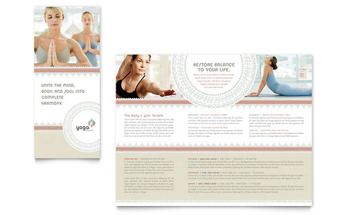 Pilates & Yoga Tri Fold Brochure - Microsoft Office Template