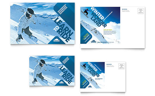 Ski & Snowboard Instructor Postcard Template - Microsoft Office