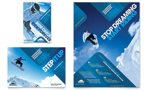 Ski & Snowboard Instructor Flyer & Ad - Microsoft Office Template