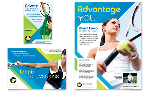 Tennis Club & Camp Flyer & Ad Template - Microsoft Office