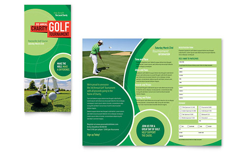 Golf Tournament Tri Fold Brochure - Word Template & Publisher Template