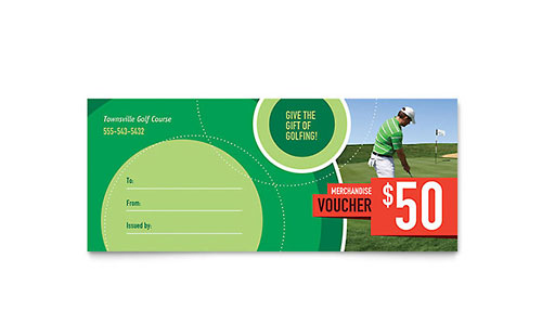 Golf Tournament Gift Certificate - Microsoft Office Template
