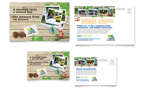 Kids Summer Camp Postcard Template Design