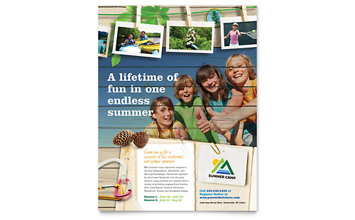 Kids Summer Camp Flyer Template Design