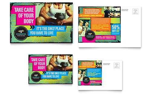 Strength Training Postcard Template Design