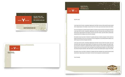 Hunting Guide Business Card & Letterhead Template - Microsoft Office