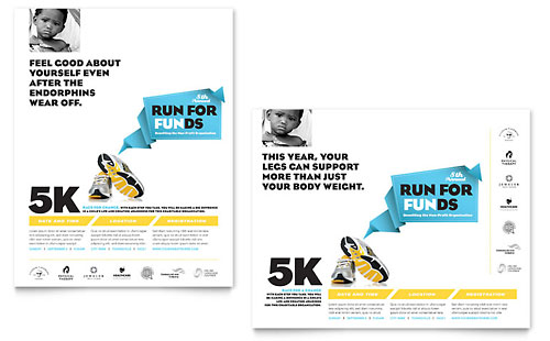 Charity Run Poster Template Design