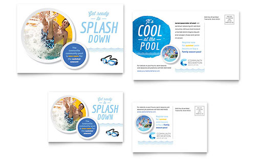 Community Swimming Pool Postcard - Microsoft Office Template