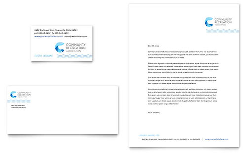 Community Swimming Pool Business Card & Letterhead Template Design