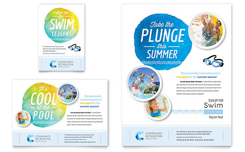 Community Swimming Pool Flyer & Ad Template - Microsoft Office