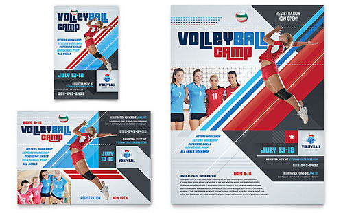 Volleyball Camp Flyer & Ad - Microsoft Office Template