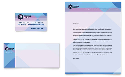 Aerobics Center Business Card & Letterhead Template Design