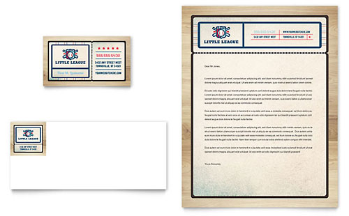 Baseball League Business Card & Letterhead - Microsoft Office Template