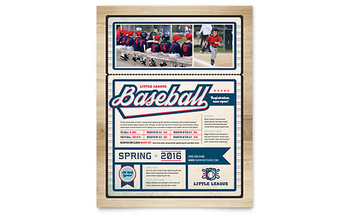 Baseball League Flyer - Microsoft Office Template