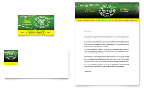 Football Training Business Card & Letterhead Template - Microsoft Office