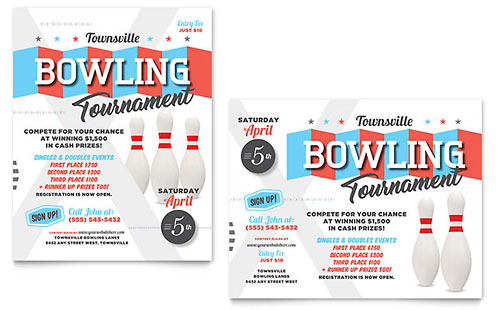 Bowling Poster Template - Word & Publisher
