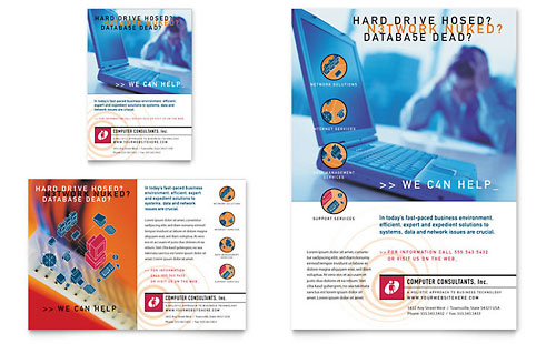 Computer Consulting Company Flyer & Ad Template - Microsoft Office