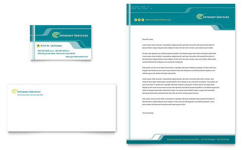 Internet Service Provider Business Card & Letterhead Template Design