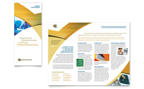 Computer Services & Consulting Tri Fold Brochure Template - Microsoft Office