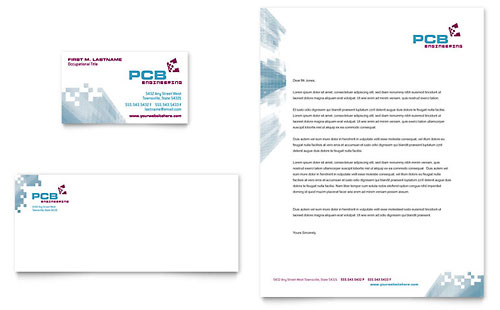 High-Tech Manufacturing Business Card & Letterhead - Microsoft Office Template