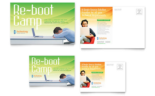 Computer & IT Services Postcard - Microsoft Office Template