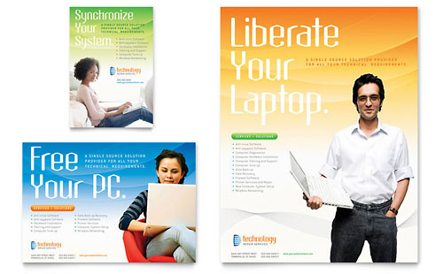 Computer & IT Services Flyer & Ad - Microsoft Office Template