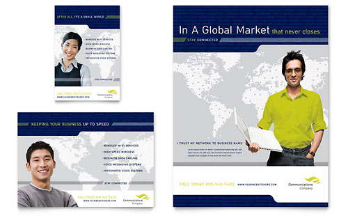 Global Communications Company Flyer & Ad Template - Microsoft Office