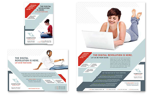 Computer Solutions Flyer & Ad - Microsoft Office Template