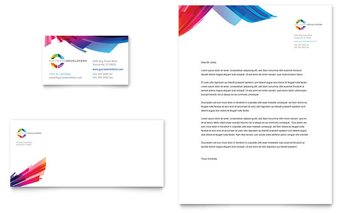 Software Solutions Business Card & Letterhead - Microsoft Office Template