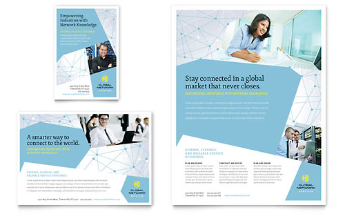 Global Network Services Flyer & Ad - Microsoft Office Template
