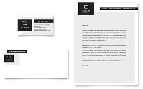 Website Designer Business Card & Letterhead Template Design