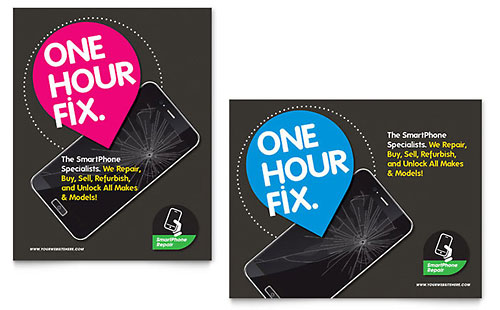 Smartphone Repair - Sample Poster Template - Word & Publisher