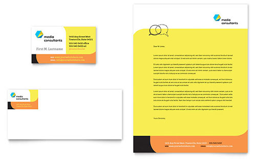 Social Media Consultant Business Card & Letterhead - Microsoft Office Template