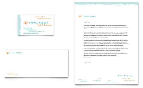 Travel Agency Business Card & Letterhead Template - Microsoft Office