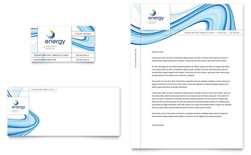Renewable Energy Consulting Business Card & Letterhead Template - Microsoft Office
