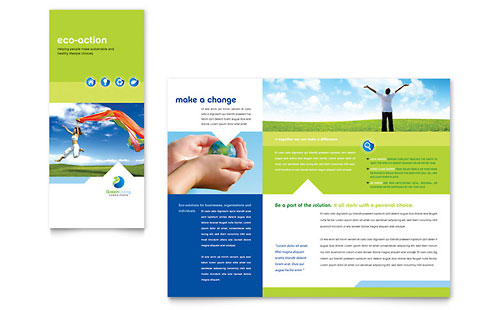 Green Living & Recycling Tri Fold Brochure Template - Microsoft Office