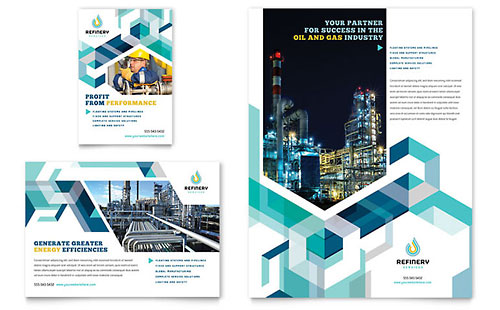 Oil & Gas Company Flyer & Ad Template - Microsoft Office