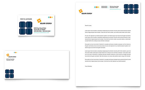 Solar Energy Business Card & Letterhead Template - Microsoft Office