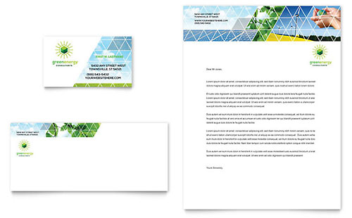 Green Energy Consultant Business Card & Letterhead Template - Microsoft Office