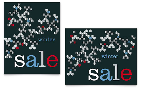 Snowflake Pattern Sale Poster Template - Microsoft Office