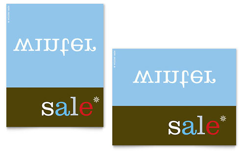 Inverse Upside Down Winter Sale Poster Template - Microsoft Office