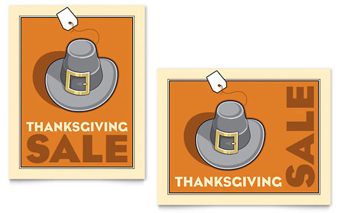 Thanksgiving Pilgrim Sale Poster - Microsoft Office Template