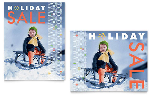 Child Sledding Sale Poster Template - Microsoft Office
