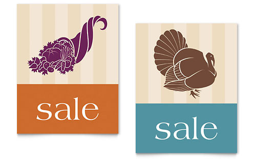 Thanksgiving Cornucopia & Turkey Sale Poster Template - Microsoft Office