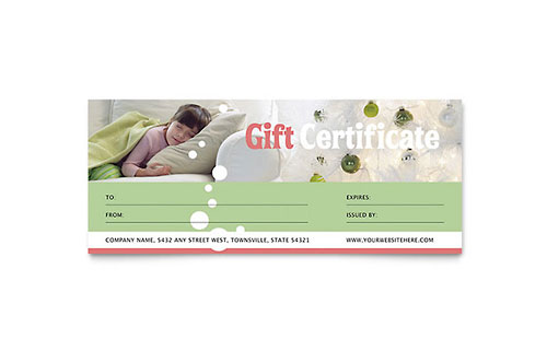 Christmas Dreams Gift Certificate - Microsoft Office Template