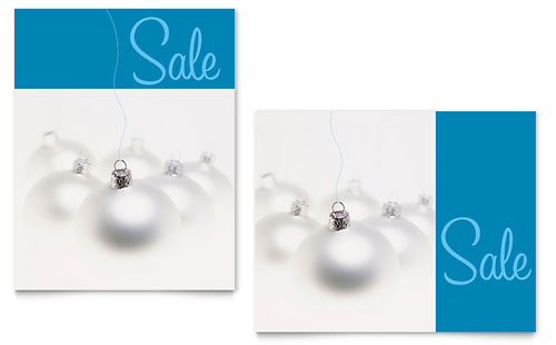 Silver Ornaments Sale Poster - Microsoft Office Template