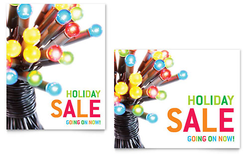 Christmas Lights Sale Poster Template - Microsoft Office