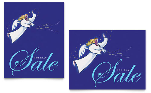 Christmas Angel Sale Poster Template - Microsoft Office