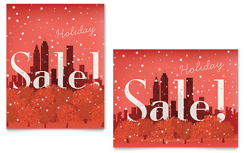 Cityscape Winter Holiday Sale Poster Template - Microsoft Office